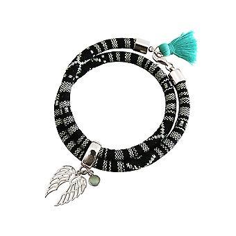 Gemshine - ladies - bracelet - bracelet - 925 Silver - double wing - Angel - AZTEC - chalcedony - sea green