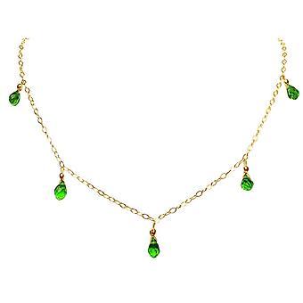 Gemshine - Damen - Halskette  - Vergoldet - Peridot - Tropfen - Facettiert - Grün - 50 cm - Längenverstellbar