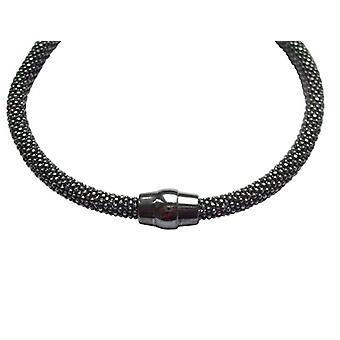 Sterling Silver Bangle 925 zilveren armband magneet gesp zwart