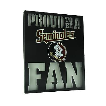 Proud To Be A Florida State Fan LED Lighted Cutout Metal Wall Sign