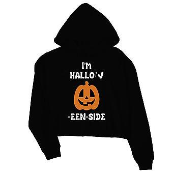 Hollow Inside Pumpkin Womens Black Crop Hoodie