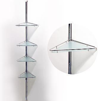 Pole - Extending Telescopic Four Tier Metal And Glass Corner Wall Shelves - Silver
