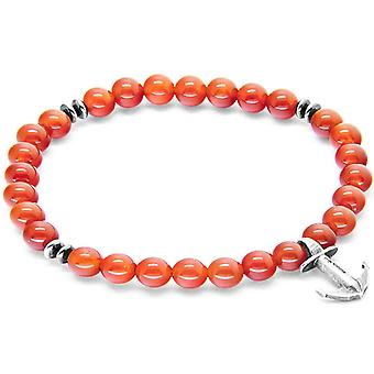Anchor and Crew Starboard Silver and Carnelian Stone Bracelet - Red/Silver