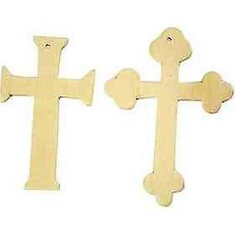 6 Assorted 9cm Wooden Christian Cross Shapes to Decorate