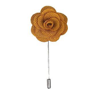 Dark Gold Handmade Flower/Rose Lapel Pin for wearing with men's suit jacket, blazer, dinner jacket or tuxedo jacket