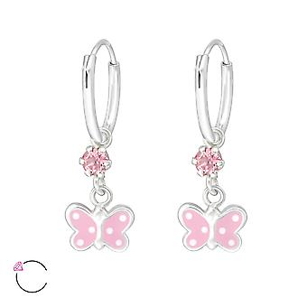 Hanging Butterfly - 925 Sterling Silver Hoops - W32894x