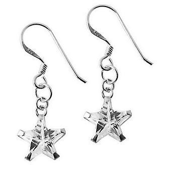 Dråbe øreringe 925 Sterling sølvsmykker, stjerner hvide Zirconia