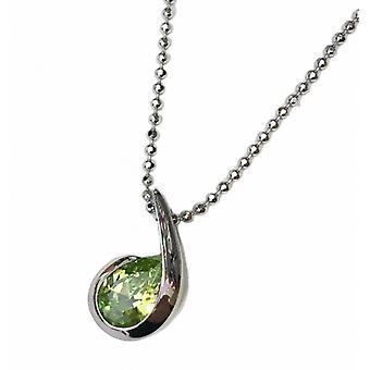 Cavendish franska Silver och Peridot grön CZ kommatecken hänge utan kedja