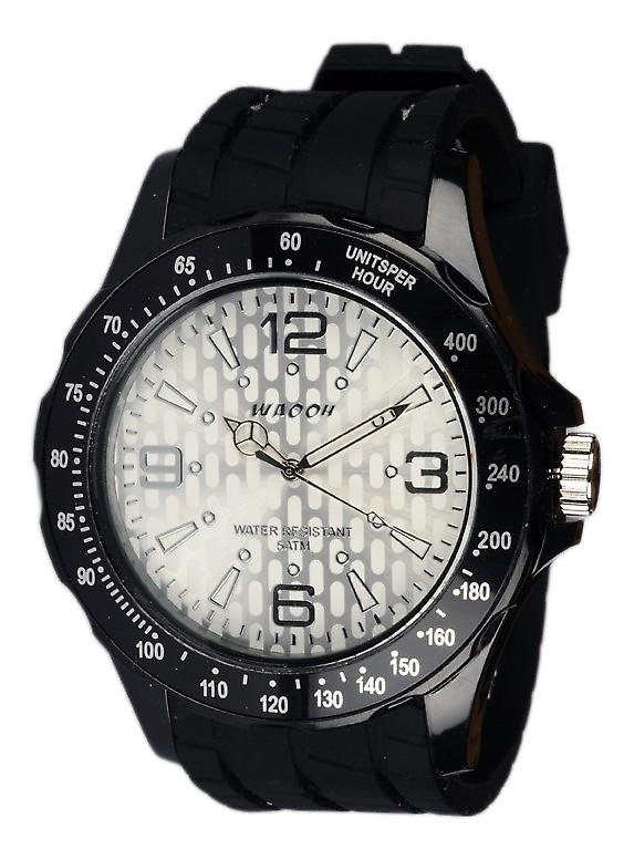 Waooh - Black Silicone Watch With A White Dial Gpm48 Inspired From Monaco Grand Prix