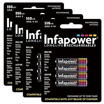 16 x Infapower B009 Rechargeable AAA Ni-MH Batteries 550mAh