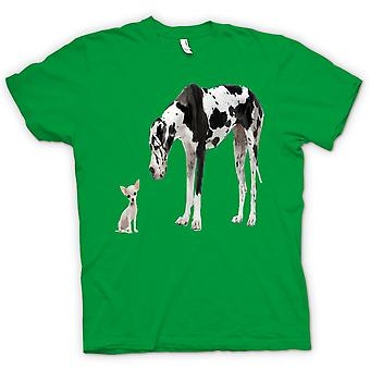 Mens T-shirt - Great Dane And Chihuahua Cut Pet Dogs