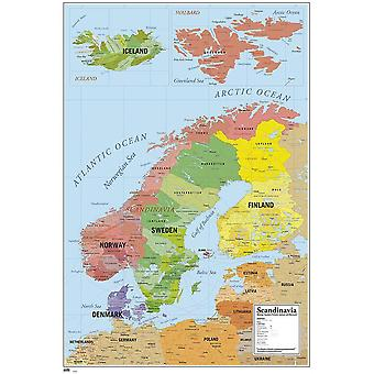 Map of Scandinavia poster map of Scandinavia Denmark, Norway, Sweden, Finland and Iceland