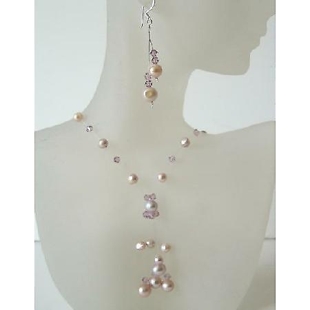 Mauve & Pinkish Freshwater Pearls & Swarovski Crystals Necklace Set