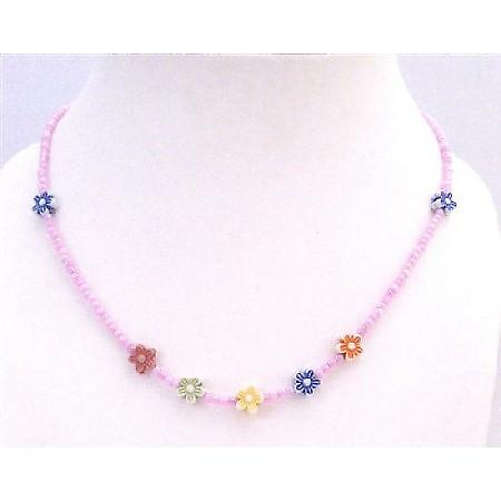 Dollar Jewelry Return Gift Beautiful Girls Necklace Tiny Pink Beads