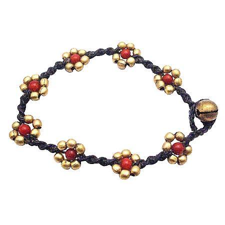 Interwoven Bracelets Golden Flower Semi Precious Coral Stone Bracelet