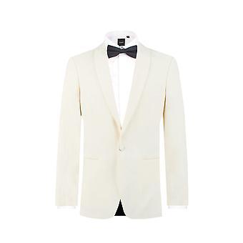 Добелл Mens белый 2 шт смокинг регулярные подходят шаль лацкане ужины костюм черные брюки