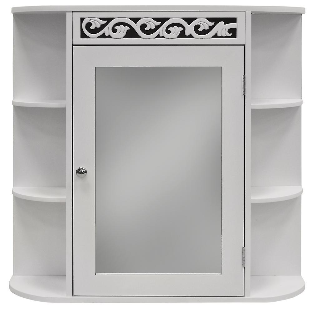 Rulle - væg monteret badeværelse spejl væg opbevaringsskab med hylder - hvid