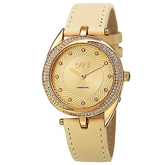 Burgi Women's Quartz Diamond Accented Leather Strap Watch BUR122YG