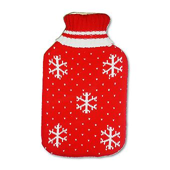 Red Snowflakes 2L Knitted Cover Hot Water Bottle