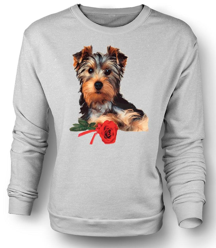 Mens Sweatshirt Yorkshire Terrier Dog with Rose