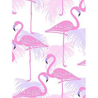 Flamingo und Palmblätter Tapete rosa und lila feine Dekor FD42214