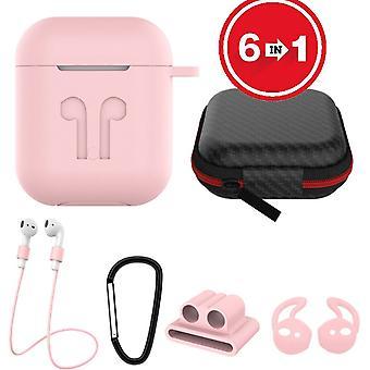 6 em 1 capa de silicone com acessórios adequados para AirPods-Pink