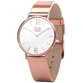 Ice city sparkling metal small quartz analog woman watch with IC015091 Synthetic Leather Bracelet