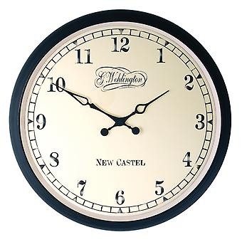 NeXtime - Wall clock – Ø 35 cm - Metal - Glass - Black - 'Aaltje'