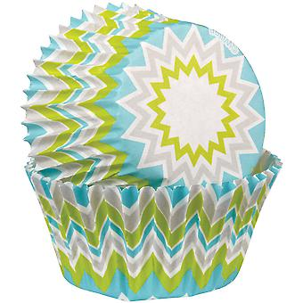 Baking Cups Lime Chevron 75 Pkg Standard 415 8066
