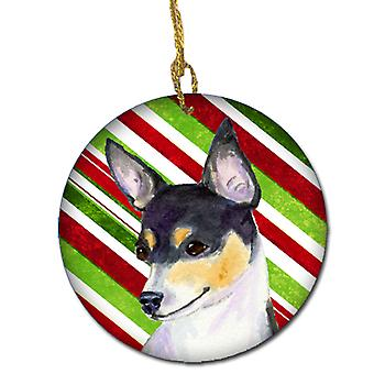 Chihuahua Candy Cane Holiday Christmas Ceramic Ornament SS4587