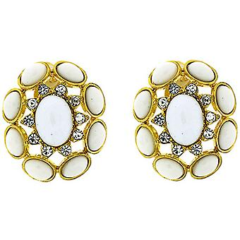 Clip On Earrings Store Large Victorian Bead and Crystal Clip On Earrings