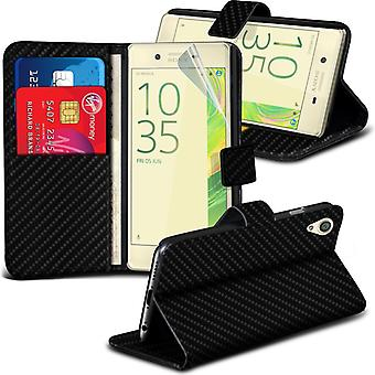 i-Tronixs Sony Xperia X Wallet Case PU Leather Wallet Classic Flip Case-Black Carbon