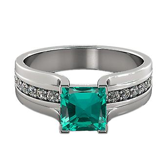 Emerald 2.20 ctw Ring with Diamonds 14K White Gold Bridge Channel set Princess