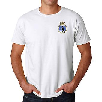 Logo di HMS Scott Embroidered - ufficiale Royal Navy Ringspun T Shirt