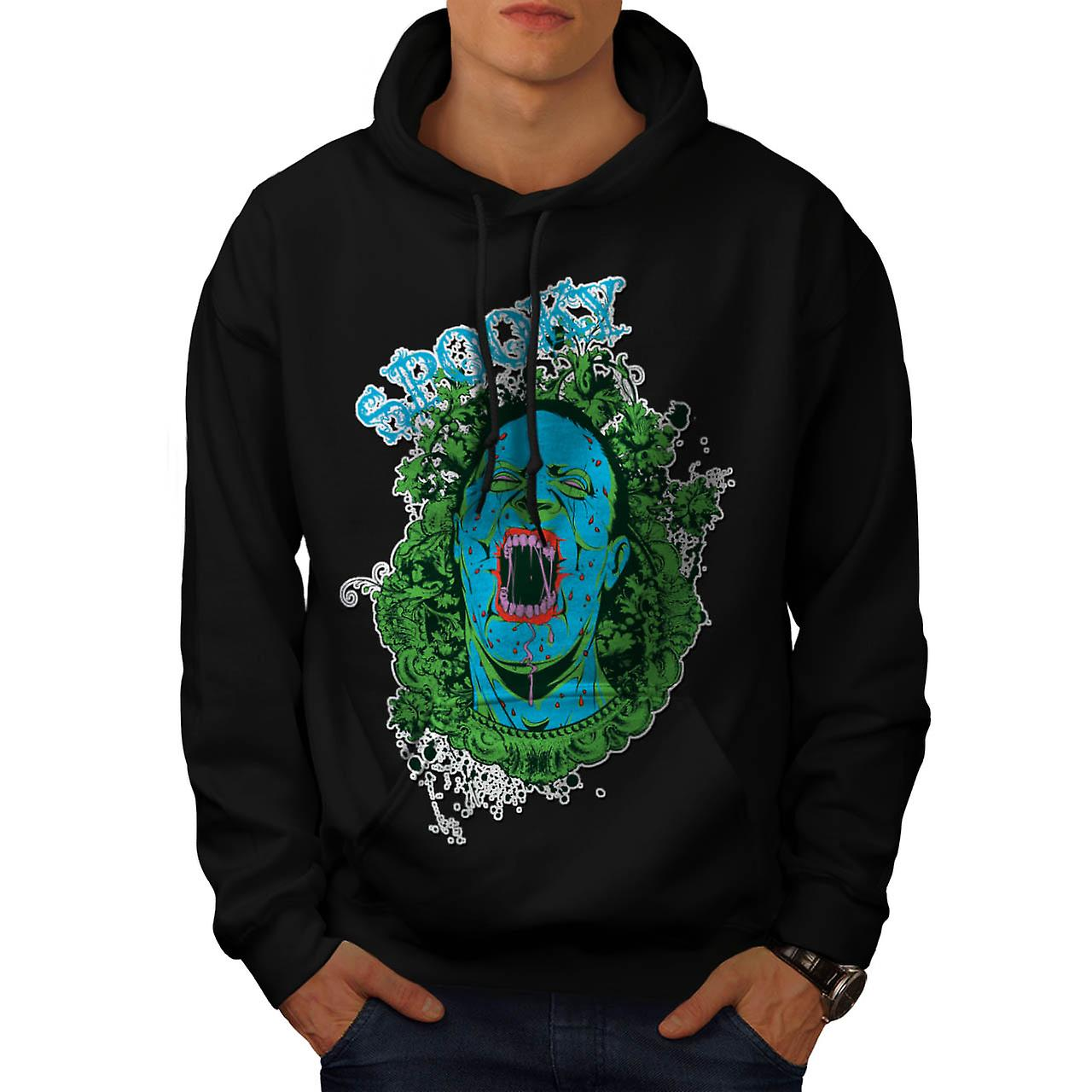 Spooky Creepy Dead Zombie Men Black Hoodie | Wellcoda