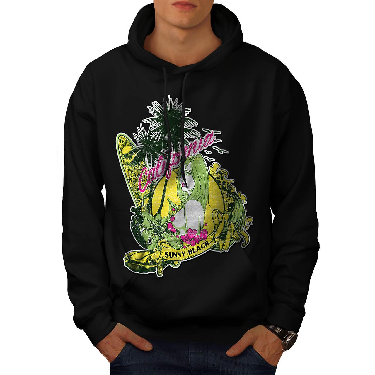 Sunny Beach Vacation Kalifornien män svart Hoodie | Wellcoda