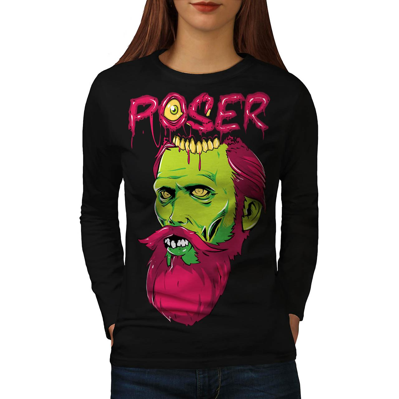 Poser Zombie Undead Dead Beard Women Black Long Sleeve T-shirt | Wellcoda