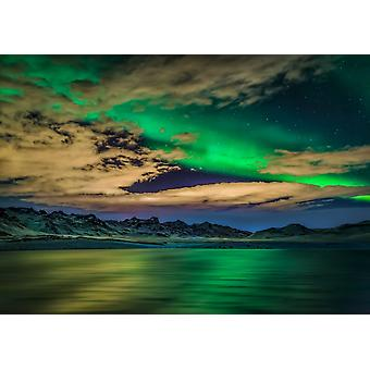 Cloudy evening with Aurora Borealis or Northern Lights Kleifarvatn Iceland Poster Print