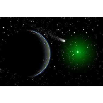 Комета, передача далекой чужой мир Плакат Печать