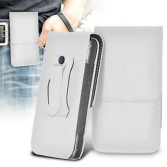 ONX3 (weiß) BLU Dash L3 Case Premium vertikale Faux Leder Holster Tasche Riemenabdeckung