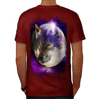 Wild Wolf Moon Earth Animal Face Men Red T-shirt Back | Wellcoda