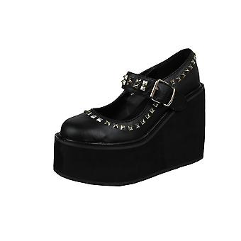 Demonia Studded Mary Jane Wedge Shoes UK 4