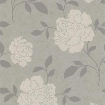 Flower Wallpaper Floral Metallic Silver White Kenneth James Vinyl Washable