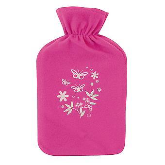 Kids Large Embroidered Soft Fleece Covered Natural Rubber Hot Water Bottle