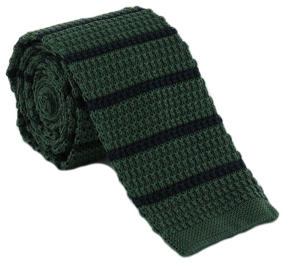 Michelsons of London Silk Knitted Striped Skinny Tie - Green/Navy