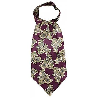 Knightsbridge Neckwear Paisley Silk Cravat - Purple/Green
