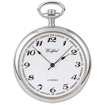 Woodford Chrome Plated Arabic Open Face Mechanical Pocket Watch - Silver/White