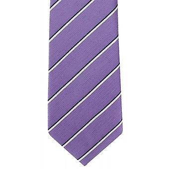 Michelsons of London Summer Stripe Silk Tie - Purple/White
