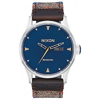 Nixon Sentry Leather Watch - Navy/Brown