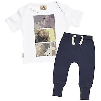 Spoilt Rotten Baby Squares Baby T-Shirt & Navy Joggers Outfit Set